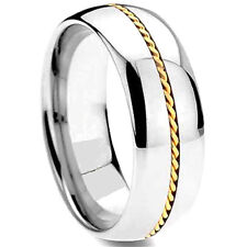 Titanium Men's Fashion Plain Ring Band with Gold Plated Braid strip, size 11