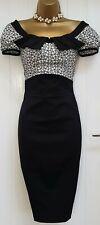 Karen Millen Black Broderie Anglais Wiggle Pencil Occasion Dress UK 10 *new*