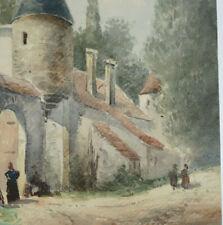 CHÂTEAU DE VILLEMARTIN à Champigny  Aquarelle Animé signé BOURDILLIAT 1844 1893