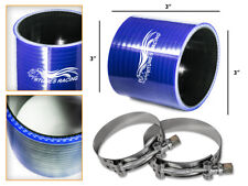 """BLUE Silicone Coupler Hose 3.0"""" 76 mm + T-Bolt Clamps Air Intake Intercooler BMW"""