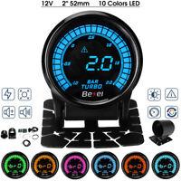 """2"""" 52mm Auto Turbo Ladedruckanzeige Zusatz Instrument 10 Farben LED -1~2 Bar 12V"""
