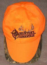 HUNTER'S ADVANTAGE Blaze Orange & Camo Logo Strapback OSFA Baseball Cap Hat EUC