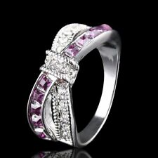 Fashion Purple Amethyst White Gold Filled Cross Finger Rings Gifts Jewelry New
