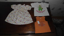 1 lot de 3 vêtements fille 6 mois : robe + maillot + débardeur orange