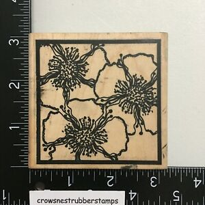Stamp La Jolla Flower Square Wood Mounted Rubber Stamp