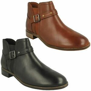 TRISH STRAP LADIES CLARKS CLASSIC CHELSEA SMART CASUAL LEATHER FLAT ANKLE BOOTS