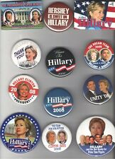1993 - 2008  pin CLINTON pinback HILLARY Campaign button COLLECTION of 12