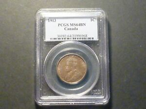 Beautiful Surfaces - Canada Large Cent 1913 PCGS MS-64 Brown
