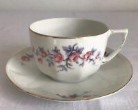 Vintage Bohemia Teacup and Saucer Pink Blue Flower Porcelain Czechoslovakia
