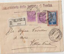 ITALY 1928 20C TORINO ON REGISTERED COVER FROM TREVISO TO VITTORIO VENETO