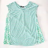 David Jones Size 16 Green & White Striped / Floral Sleeveless Women's Top