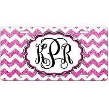 Personalized License Plate - Hot Pink Glitter Chevron Monogrammed - Car Tag