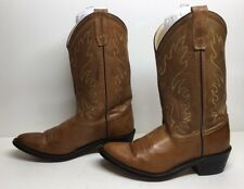 VTG GIRLS OLD WEST COWBOY LEATHER BROWN BOOTS SIZE 6.5