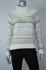 INC New Womens White Gold Sequin Cowl-Neck Cropped Sweater Top MSRP $89 M