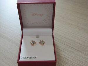 Disney Minnie Mouse Birthstone Jewelry, Silver Plated Crystal Stud Earrings New