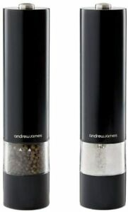 Salt and Pepper Mill Set Large Electronic Grinders in Black Andrew James