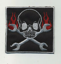 skull patch badge wrenches hot rod drag race motorcycle rockabilly biker