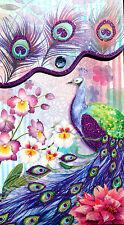 pUNCH sTUDIO Large Glitter Jewel Pocket Note Pad - Purple Peacock # 94693