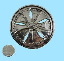 """Silver Star Chrome """"Spinner Rim"""" Belt Buckle NEW"""