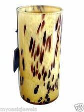 Glassware Art Glass Modern Abstract Speckled Tan Vase Hand Blown 10x5