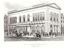 1840 victorian print ~ st james's bazaar ~ london