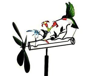 HUMMINGBIRD/DRAGONFLY WHIRLIGIG WIND-POWERED SCULPTURE GARDEN DECOR w/POLE   #dm