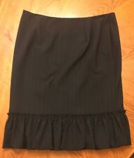 NWOT Express Design Studio Womens Black Stretch Career Skirt Ruffles Size 2