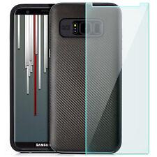 Coque Gel Samsung Galaxy S8 Plus Housse anti-choc Carbon look Case +Vitre Trempé