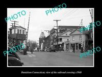 OLD LARGE HISTORIC PHOTO OF DANIELSON CONNECTICUT, THE RAILROAD CROSSING c1940