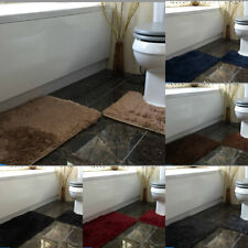 Luxury Bathroom Plush Shaggy Bath Mat Set & Pedestal Non Slip 2pc Soft Rugs Set