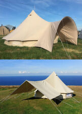 Waterproof Canvas Bell Tent Awning Canopy Sunshade for Tent Family Yurt Teepee