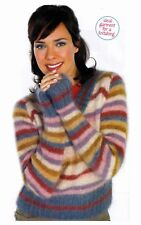 KNITTING PATTERN LADIES 81-117cm FLATTERING STRIPED SWEATER LONG/SLEEVE LKM M12A