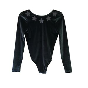 Victorias Secret XS Green Stars Velvet VSX Sport Thong Teddy Bodysuit NWT