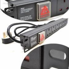 """iONZ 1U 6 Way 13A PDU 19"""" Rack Switch Horizontal Mount Power Distribution Unit"""