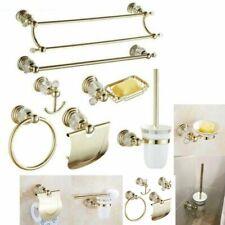 Luxury Crystal Bathroom Accessories Gold Polished Brass Wall Bath Hardware Sets
