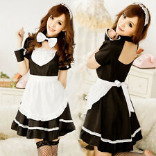 Sexy Black French Maid Halloween Outfit Cosplay Fancy Dress Costume