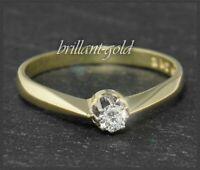 Diamant Gold Damen Ring, lupenreiner 0,12ct Brillant Solitär, Antik um 1925