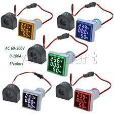 Ac 60 500v 0 100a 22mm 3 In 1 Voltmeter Ammeter Led Light Digital Volt Amp Meter