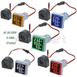 AC 60-500V 0-100A 22mm 3 in 1 Voltmeter Ammeter LED Light Digital Volt AMP Meter