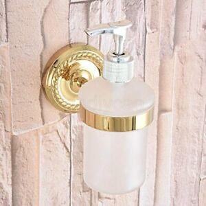 Golden Finish Brass Wall Mount Soap Dispenser Liquid Hand Wash Bathroom Kitchen