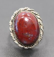 Adjustable Sterling Silver Red Purple Oval Agate Stone Ring