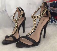 bebe Shireen Black Chained Sandals Heels Size 7 NEW IN BOX