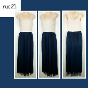 Rue 21 Ivory And Navy Blue Lace Sleeveless Maxi Dress Size L Large Sheer DR83