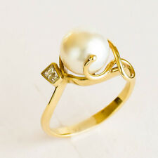SOUTH SEA PEARL RING 9.2mm CULTURED PEARL GENUINE DIAMOND 9K GOLD SIZE N1/2 NEW