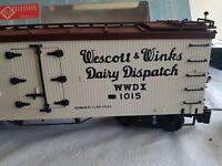 Polks G SCALE train. Used. Like LGB Piko. Dairy box car.