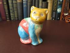 Early South African Raku Pottery Cat - Raku Studio Art Pottery