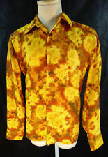 FIRE orange yellow tye dye ty medium shirt bright kenneth cole sun steampunk mod