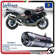 Leovince Factory S 2 Pot D'Echappement carbon Kawasaki ZZR1400/ZX14R 2012>2015