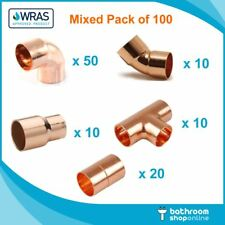 100 X 15mm Copper End Feed Mixed Fittings Pack Job Lot Copper Pipe/Plumbing/DIY