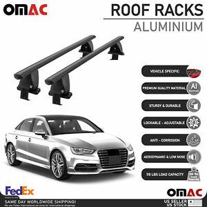 Fits Audi A3 S3 Sedan 2014-2021 Smooth Roof Rack Cross Bar Carrier Rail Black